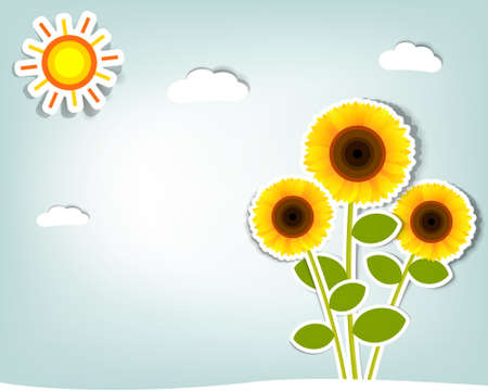 stylized vector sunflower on background sky, clouds and sun