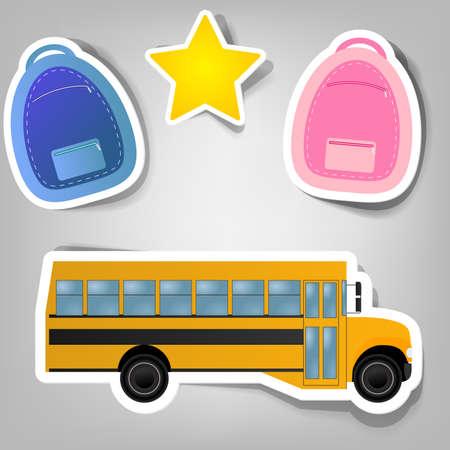 zaino: insieme di elementi di design per pubblicizzare il tempo scuola