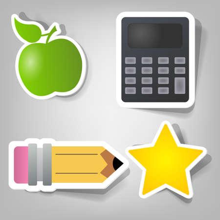set van design elementen aan de school tijd reclame