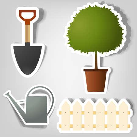 wooden work: insieme di elementi di design per pubblicizzare attrezzi da giardinaggio