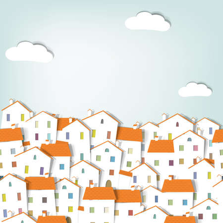 panorama town. seamless vector pattern