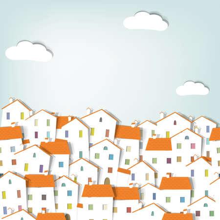 panorama stad. naadloze vector patroon Stock Illustratie