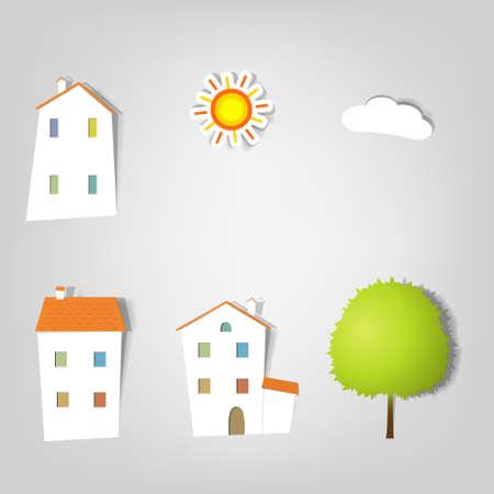 een set van elementen voor reclame diensten in de vastgoedsector
