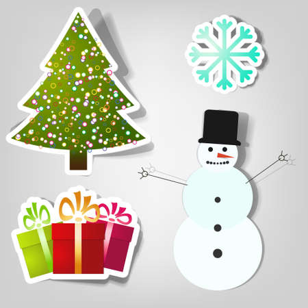 ctor stickers. Symbols of Christmas and New Year Vector