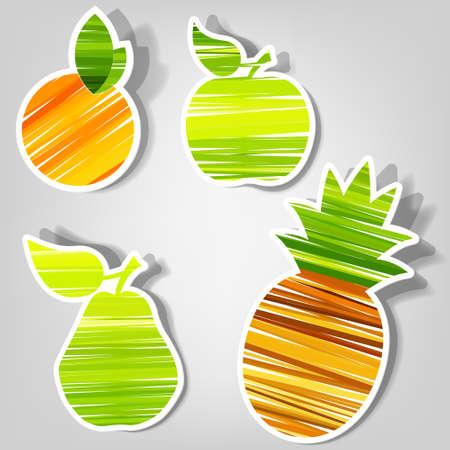 set of design elements for advertising fresh fruit