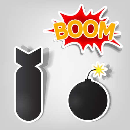 bombe: vecteur de la bombe et autocollants de roquettes Illustration