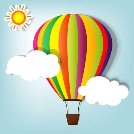avion caricatura: ilustraci�n vectorial con globo de aire caliente en el cielo