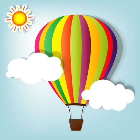colored balloons: vector illustration with hot air balloon in the sky