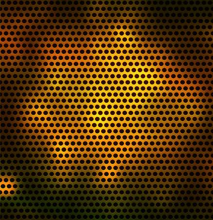 lamiera metallica: Griglia metallica con fori tondi. Vettore sfondo Seamless