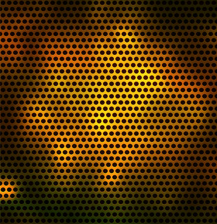 Metal grid with round holes. Seamless vector background