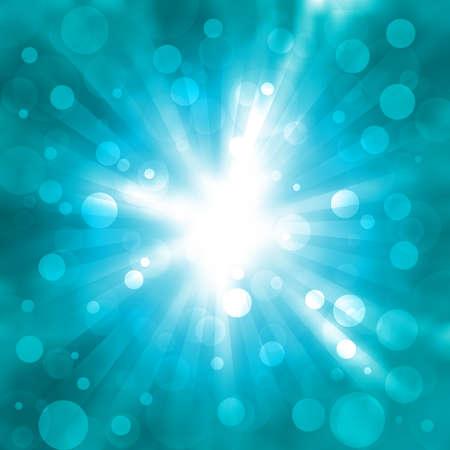 abstracte blauwe achtergrond met de flitser en flare Stock Illustratie