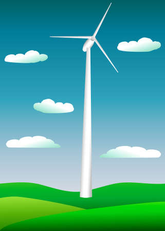 a picture of a large electric windmill against a blue sky