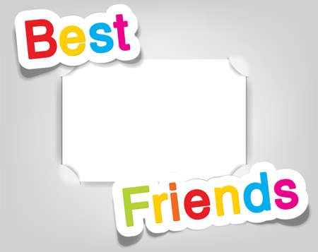 mejores amigas: Vector marco de fotos vacío Vectores
