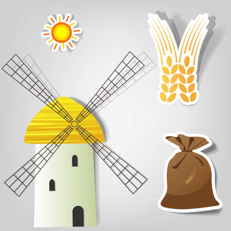 MOLINOS DE VIENTO: conjunto de iconos vectoriales agrícolas