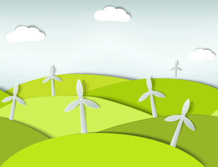 yellow hills: seamless landscape with wind turbines