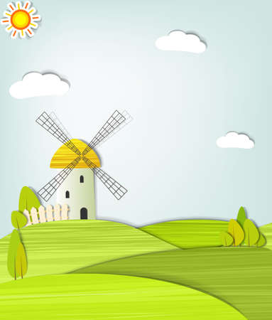 landscape with a windmill Vector