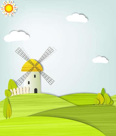 moinhos de vento: Paisagem com um moinho de vento Ilustração