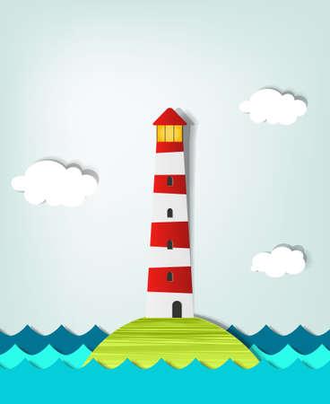 hoog gras: Solitary Island vuurtoren Stock Illustratie