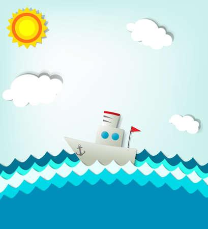 schip op zee Stock Illustratie
