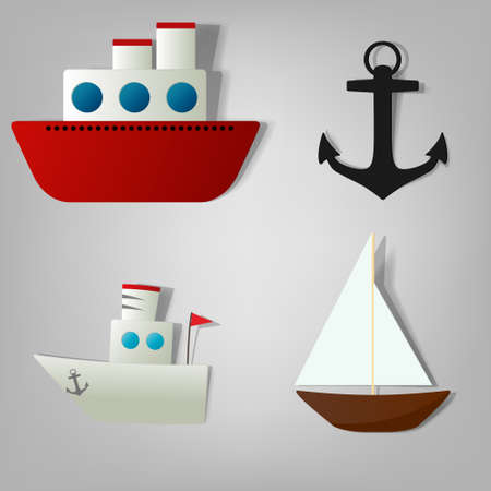 ship sign: vector icon set ships for decoration book travel