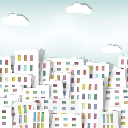 panorama city panorama: panorama de la ciudad. patr�n de vectores sin fisuras Vectores