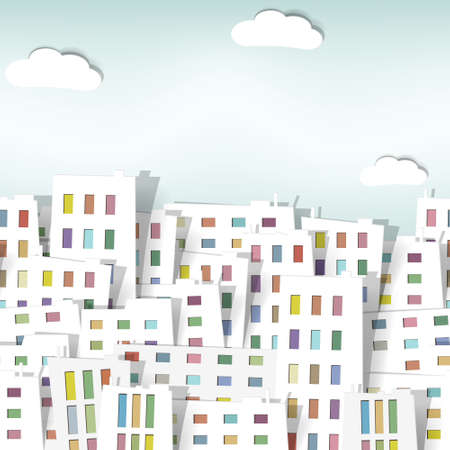 multi storey: panorama town. seamless vector pattern