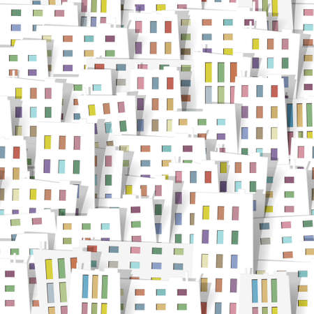 multi storey: panorama town. seamless vector pattern. part 2