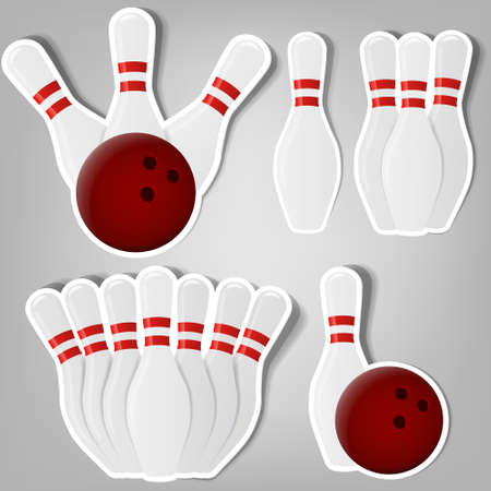 ten pin bowling: set of design elements for advertising bowling club Illustration