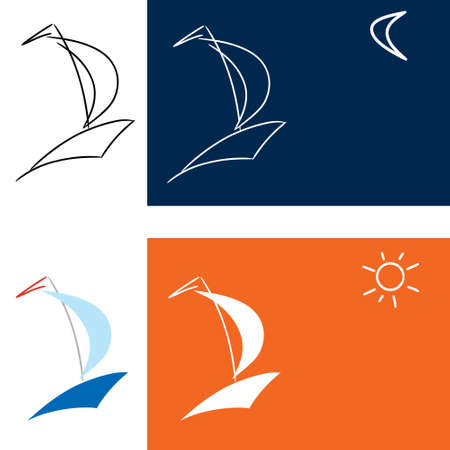 nautical flags: vector icon boat Illustration