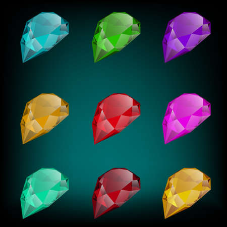 ruby: vector set of colored gemstones Illustration