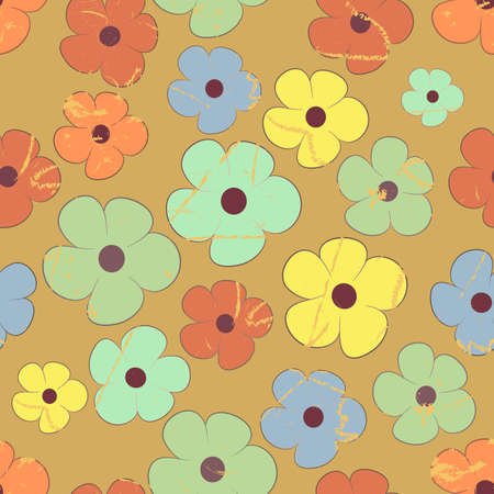 tileable background: grunge seamless pattern of flowers