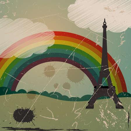 grunge Eiffel tower and rainbow Vector