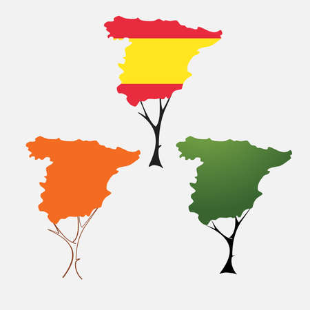 majorca: Contour of Spain in the form of tree crown