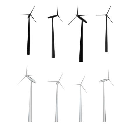 wind mills: vector set of windmills