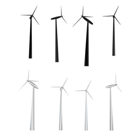 vector set van windmolens Stock Illustratie