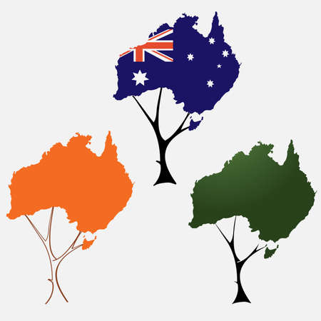 map of australia: circuit of Australia in the form of tree crown
