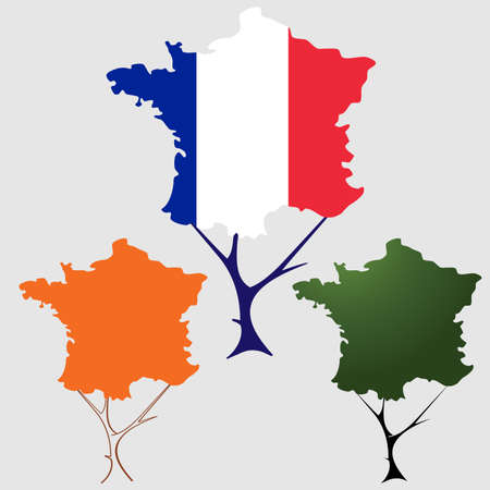 toulouse: contour of France in the form of tree crown Illustration