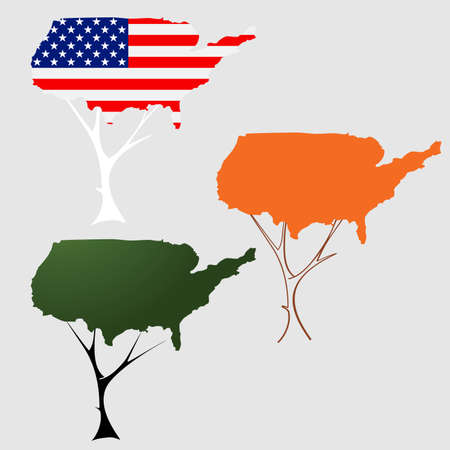 Contour of the U.S. in the form of tree crown Vector