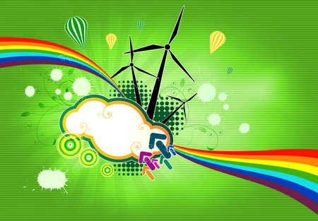assemblage: vector illustration, which depicts a windmill on a green background