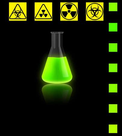 Un bulbo de vidrio transparente, que es reactivo químico que brilla intensamente