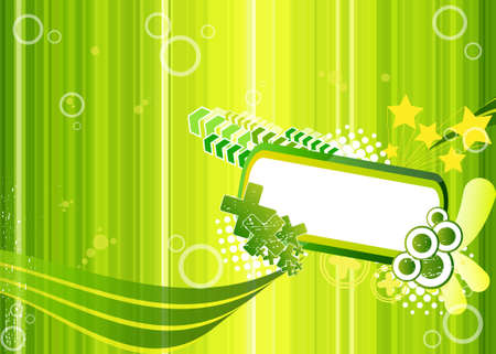 assemblage: Green illustration with frame for text, crosses, arrows and stars