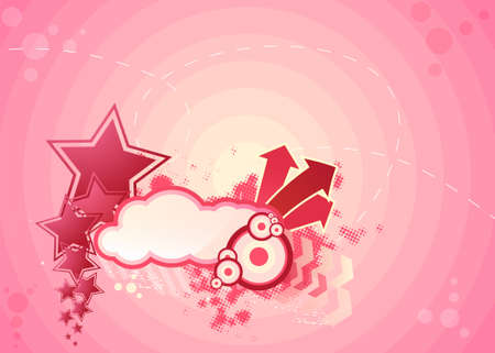 assemblage: Pink illustration with stars, arrows and circles Illustration