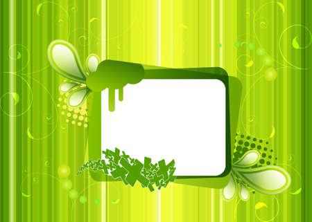 assemblage: frame on a green background Illustration
