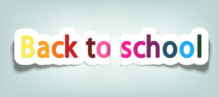 postcard back: vector back to school; realistic cut, takes the background color Illustration