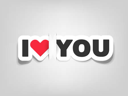 love you: vector i love you; realistic cut, takes the background color