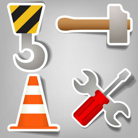 a set of stickers that indicate repair works