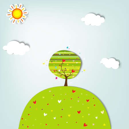 love tree on a green hill Vector
