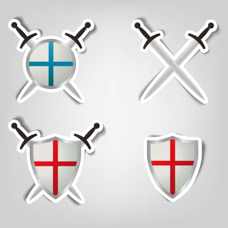 set of vector stickers with a picture of shields and swords Vector