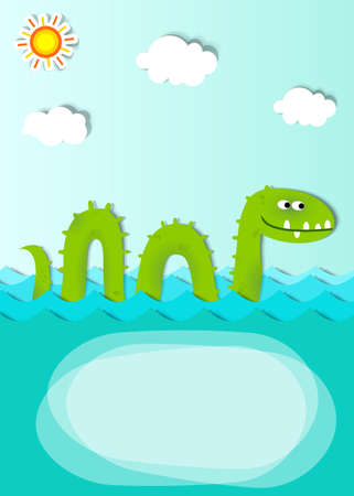 creative poster with sea monster Vector