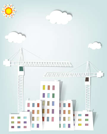 building construction site: vector cityscape with tower cranes